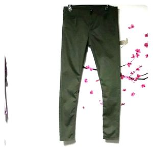 H&M hunter green super skinny cotton blend pants